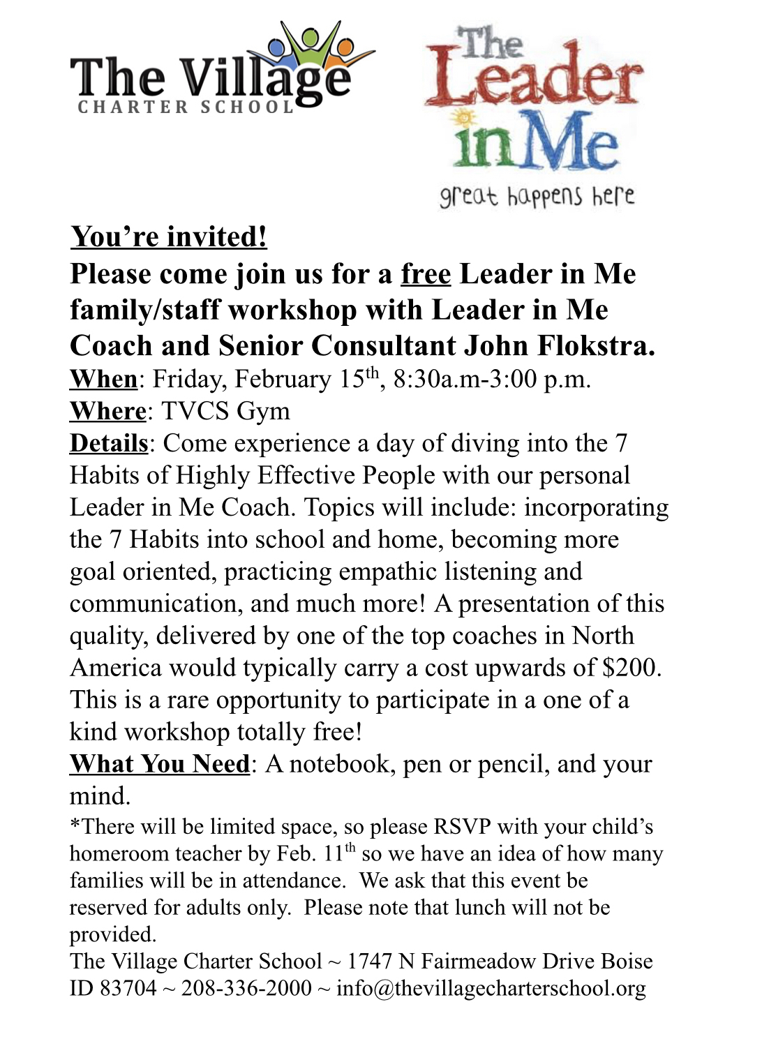 Leader In Me Training-CANCELLED